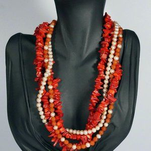Jewelry - Carnelian Coral Pearl Bead Multi Strand Necklace